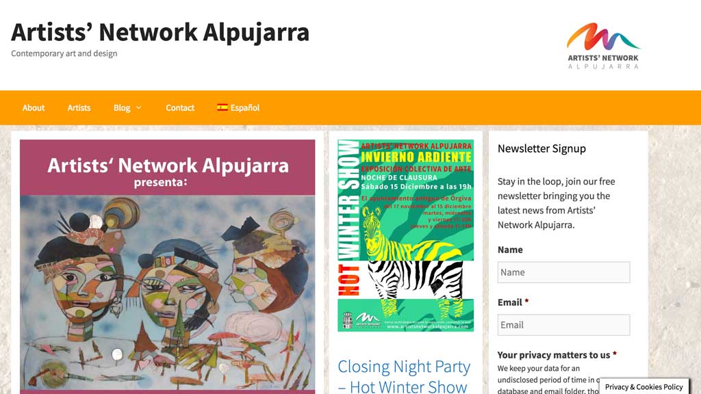 Artists Network Alpujarra website builders